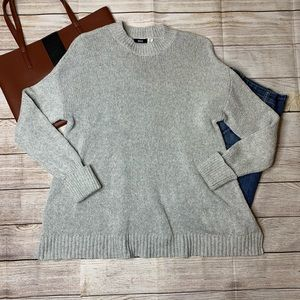 BDG grey woven cuffed oversized crew neck sweater